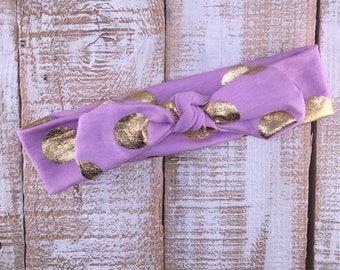 Lavender & Gold Polka Dot Top Knot Headwrap, Top Knot, Polka Dot Headband, Baby Girl Headwrap, Girls Headband