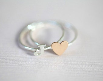 stackable initial ring, dainty ring set of  heart ring and initial ring
