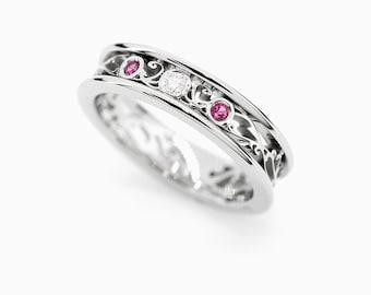 Ruby ring, diamond, filigree, wedding band, red ruby wedding, filigree wedding, engagement ring, diamond band, April birthstone, lace ring