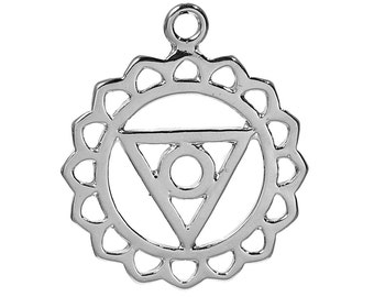 2 Silver Tone Chakra Pendant - Vishuddhi /Vishuddha (Throat Chakra) 3cm
