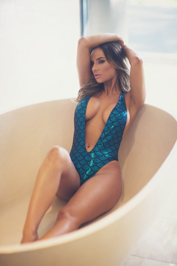 MERMAID *** MissManeater foil print deep V front cheeky scrunch one piece swimsuit ***BRAZILIAN cut!