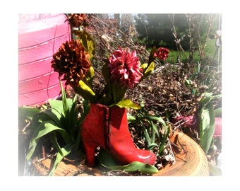 Shoe planter - flower planter - outdoor planter , Patio Planter - Garden decor- Garden art -  # 3