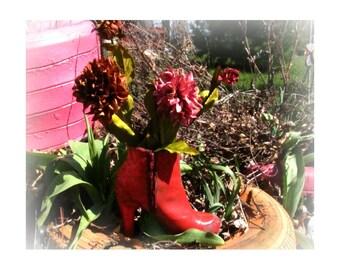 Shoe planter - flower planter - outdoor planter , Patio Planter - Garden decor- Garden art -  # 3