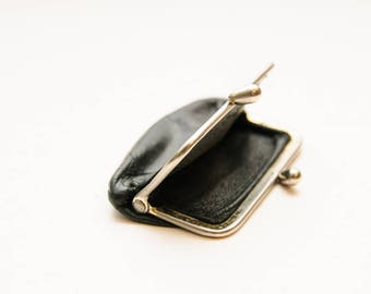Vintage Black Leather Wallet Purse, money keeper, Wallet women, Boho, Bohemian, Hippie.