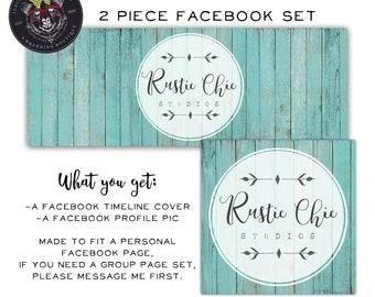 Facebook Set, Facebook Timeline Cover, Facebook Logo, Facebook Template, Rustic Facebook Set, Wood Facebook Cover