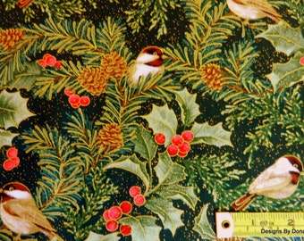 """One Half Yard Cut Quilt Fabric, """"CHICKADEES & BERRIES"""" by Jackie Robinson of Animas Quilts for Benartex, Sewing-Quilting-Craft Supplies"""