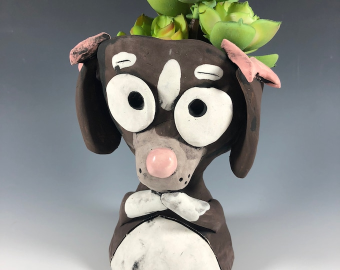 Precious Pup // Dog Succulent Pot // Planter // Ceramic // Small Sculpture // Pink Bows // Cute Puppy // Pothead // Handmade // Unique