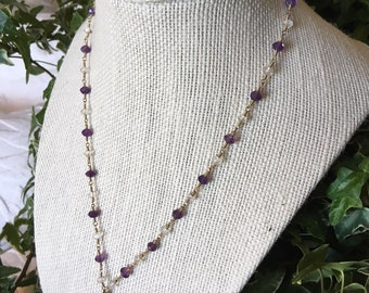 Vintage 14k Italian Gold, Amethyst, White Topaz & Lavender Chalcedony Briolette Necklace