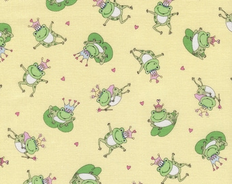 Frogs with Crowns - 1 yard Cut - Timeless Treasures - Cotton Fabric - Quilting Fabric - Frogs Fabric