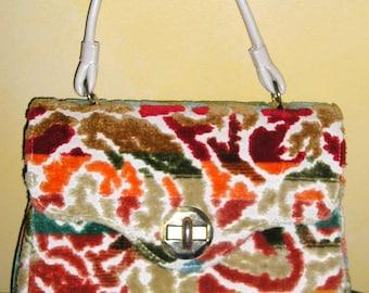 Handbag or Purse Vintage 1960s Crazy Retro Raised Design Fabric Purse Great Condition, Handbag, Aqua, Green, Orange, Brown Upholstery Purse