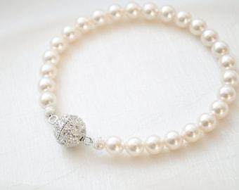 Pearl Bridal Bracelet, Pearl Wedding Bracelet, Bridal Jewelry, Wedding Jewellery