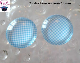 2 glass cabochons domed 18mm turquoise gingham theme