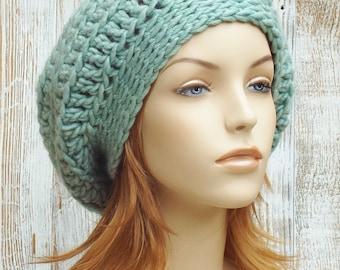 Crochet Slouchy Beret Hat - Womens Slouchy Beanie Hat - Winter Slouch Hat - Fall Accessories // THE ISLA // Sea Blue Green Aqua