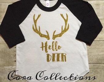 Hello Deer} Glitter- Baseball Style Raglan, Tee