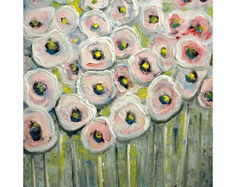 PINK Grey Poppy Flowers White Gray Floral Canvas Painting Whimsical Art by Luiza Vizoli