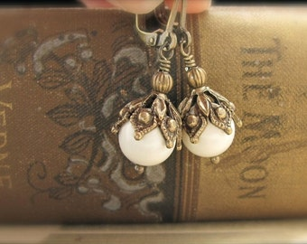 Pearl Earrings Ornate Steampunk Earrings Ivory White Swarovski Crystal Pearls, Hawaii Wedding Jewelry, Bridesmaid Gift, Bridal Jewelry