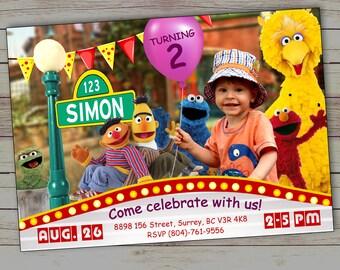 Sesame street invitation, Elmo birthday invitation, Elmo invitation, Elmo Invite, Sesame Street printable, Sesame Street invite, Big Bird