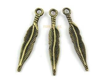 50Pcs Antique Brass Feather Charm Feather Pendant 28x5mm (PND1322)
