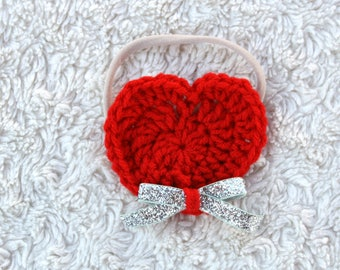 Valentines Day Heart Glitter Bow Clip or Headband