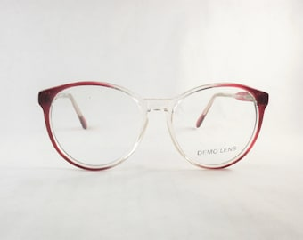 Clear Eyeglasses, Burgundy Glasses, Big Red Eyeglasses, Round Glasses, Cat Eye Glasses, Vintage 1980s Two Tone Frames, Transparent Glasses
