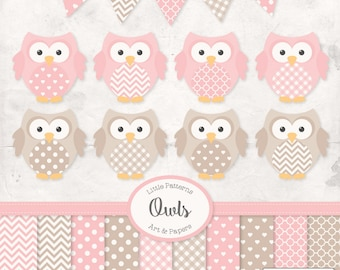 Premium Owl Clipart, Vectors & Digital Papers in Soft Pink with Tan - Baby Pink Owl Clip Art, Owl Vectors, Pattered Owls, Baby Owls