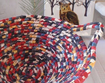 Kilim Print Coiled Fabric Basket - Catchall, Organizer, Handmade by Me, Black, Red, Slate Blue, Gold