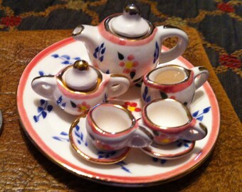Teaset,Tiny Porcelain Teaset, So Cute Miniature Teaset, Dollhouse size