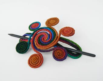 Hair Stick barrette, Thick hair claw, Brooch shawl pin, Rainbow Hair fork, Hair slide clamps, Whimsical Fascinator Turquoise Green Orange