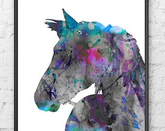 Gray horse watercolor painting print watercolor art watercolor poster wall hangings living room decor - 494