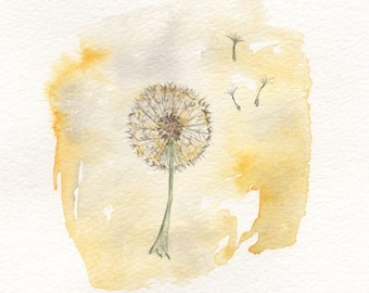 Just Dandy, Dandelion yellow, Watercolor Print, Gray and Yellow, wall art