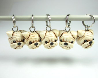 Bulldog Knitting Stitch Markers 5, dog stitch markers, bulldog charms, knitting gift for knitters, knitting accessories, dog lover gift