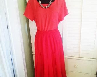 Vintage Pendleton skirt, pendleton wool skirt, vintage pendleton red skirt, red wool skirt, 1970's red skirt, 1970's wool skirt.