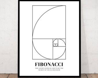Fibonacci Spiral Wall Art Poster, Mathematics Fibonacci Numbers, Fibonacci Sequence, Fibonacci Print, Golden Ratio Spiral