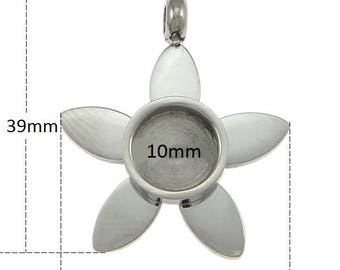 1 piece 10mm Stainless Steel Flower Setting