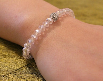 Bracelet pearls flattened out and rhinestone beads
