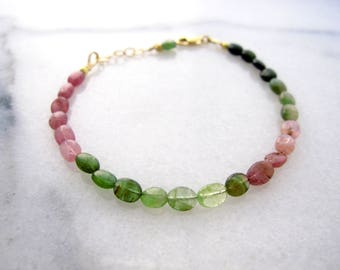 Tourmaline Bracelet for Women, Watermelon Tourmaline Bracelet, Pink and Green Ombre, October Birthstone, October Birthday