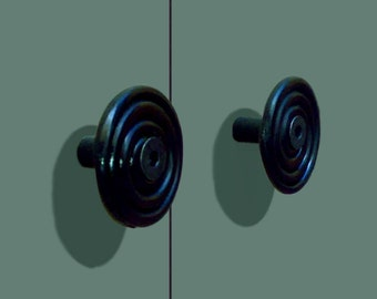 Delaforja (Pair) Spiral Cupboard/ Furniture Knobs in Black Zinc by Nyree L Smith