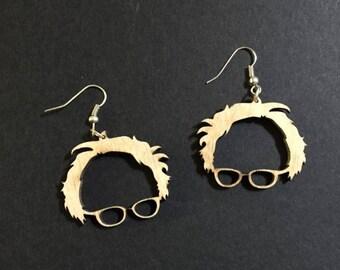 Bernie sanders earrings, baltic birch dangle earrings, hand finished earrings