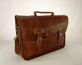 "DIAZ 13"" Genuine Leather Briefcase / Laptop Satchel / Messenger Shoulder Bag in Crazy Horse Tanned Brown - Free Monogramming"