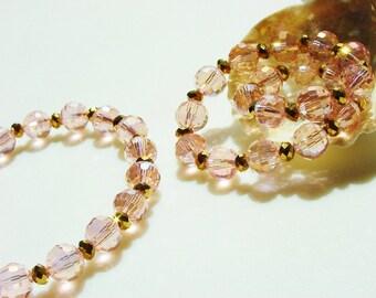 Pink Crystal Bracelet / Gift for Her / Pink and Gold Bracelet / Stretchy / Pastel / Sweet / Simple / Stacking Bracelet / Stretchy Bracelet