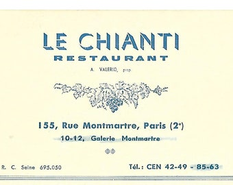 Vintage 1950's French Restaurant Card - Le Chianti - Paris, France