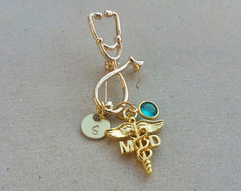 MD Medical Doctor Gold Tone Caduceus Stethoscope Handstamped Personalized Initial Letter Birthstone Graduation Gift Brooch Pin