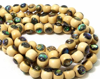Whitewood with Abalone Shell Inlay, 8mm, Round, Natural Wood and Shell, Handmade Artisan Bead, 7.5-8 Inch Strand - ID 2184