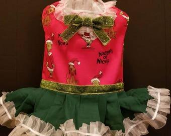 Dog Christmas dress.     Naughty or Nice