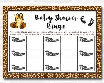 Baby Shower Games Giraffe Animal Print Bingo Cards