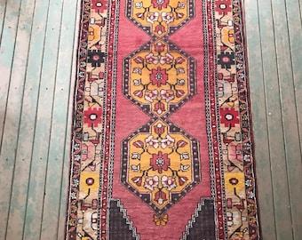 3'x10' Vintage Bohemian Turkish Long Runner rug w/ RARE yellows