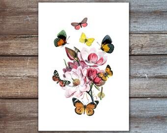 flower art, magnolia with butterflies wall art, flower home decor, magnolia art print, spring decor, flower art print, poster print