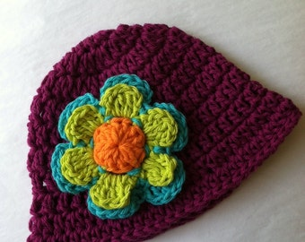Maroon Sun Hat, Crochet Baby Hat, Newborn Hat, Baby Hat, Plum Hat,  Baby Hat, Baby Girl Hat, Summer Sun Hat