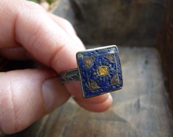 Antique silver ring with enamel detailing