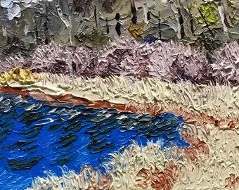 """Original Impressionist Impasto Oil Painting """"White Reeds, Shoreline""""  5x7"""